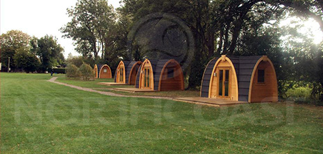 Campsite rental pod, hut and tent